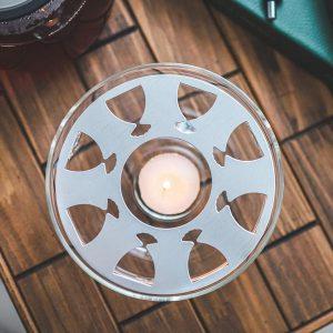 sahara teapot warmer borosilicate glass food dish warmer top view