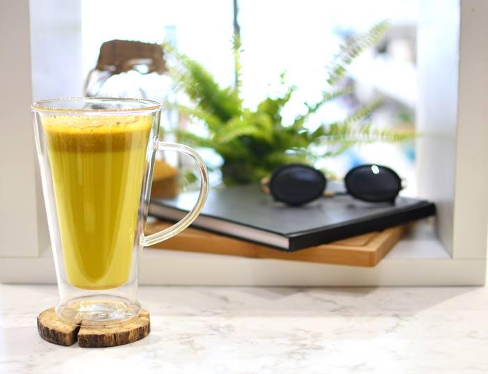 verona large glass double walled mug latte