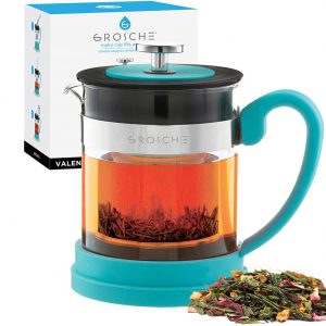 GROSCHE Valencia Personal Sized Teapot 20 oz. / 600 ml Made with Borosilicate Glass, Stainless Steel and Silicone, BLACK Glass tea pot