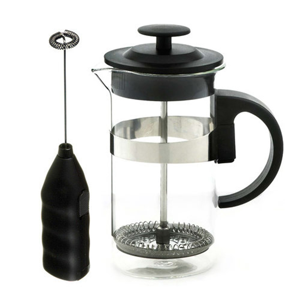 cafe au lait black french press and frother grosche