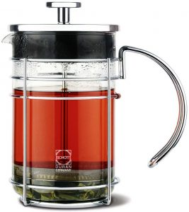 GROSCHE MADRID Premium French press | Side view with tea 1000 ml
