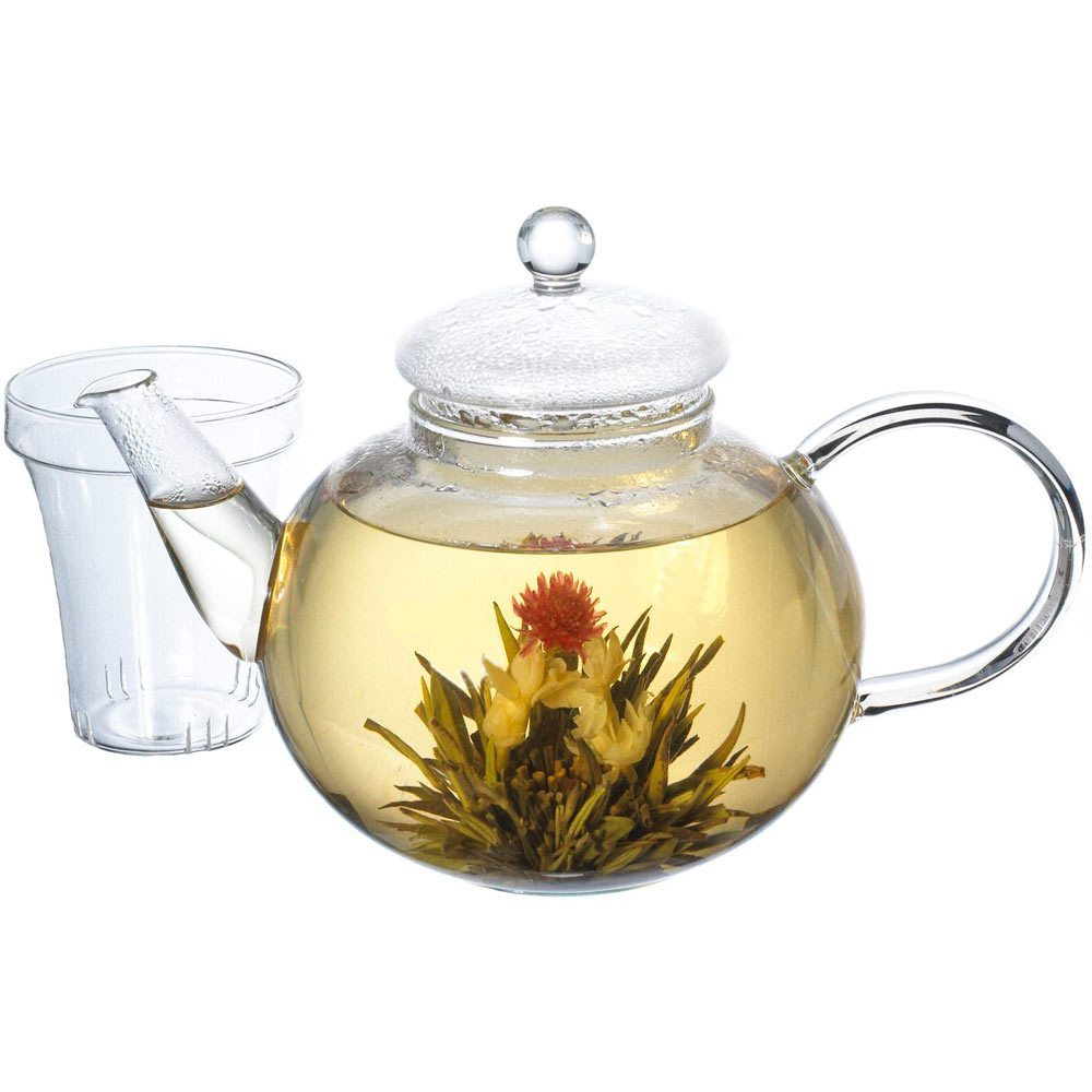 monaco glass infuser teapot by grosche