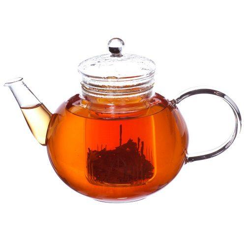 grosche monaco glass infuser teapot with black tea steeping