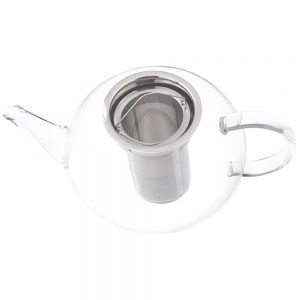 grosche Joliette teapot with stainless steel tea infuser with lid removed