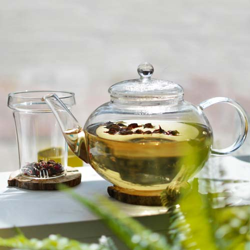 GROSCHE monaco glass teapot with mini rosebuds and glass infuser