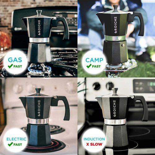 GROSCHE Milano Stovetop Espresso Maker Moka Pot 3 Cup - 5oz, Red - Cuban Coffee Maker Stove top coffee maker Moka Italian espresso greca coffee maker brewer percolator