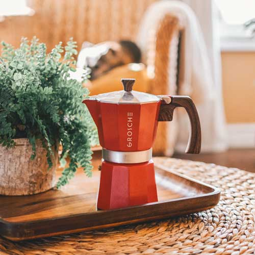 GROSCHE Milano stovetop espresso maker moka pot coffee red
