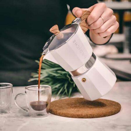 GROSCHE Milano stovetop espresso maker moka pot coffee white
