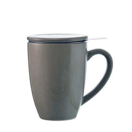 kassel infuser ceramic mug with separate infuser grey
