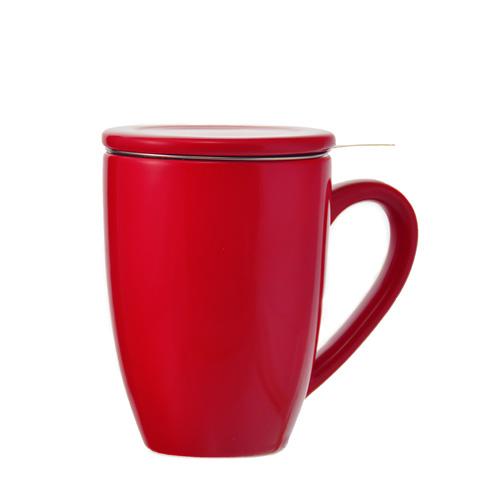 kassel infuser ceramic mug with separate infuser red