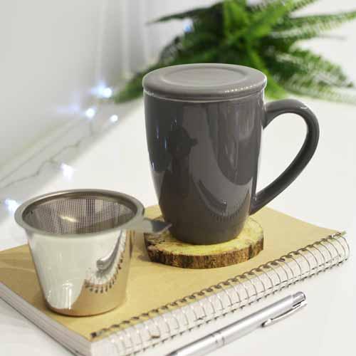 GROSCHE grey kassel infuser mug ceramic with tea infuser