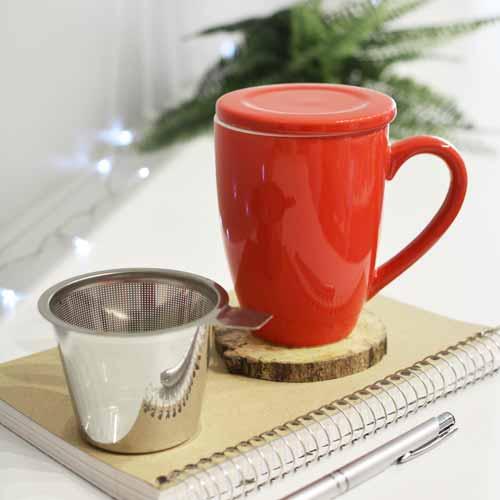 GROSCHE red kassel infuser mug ceramic with tea infuser