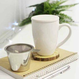 GROSCHE white kassel infuser mug ceramic with tea infuser