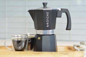 Grosche-Milano-stovetop-espresso-maker-stovetop coffee maker moka-pot-charcoal-aluminum-espresso-cups