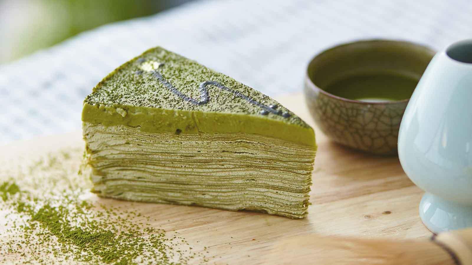 matcha green tea baked into a cake