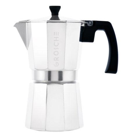 GROSCHE espresso maker stovetop silver 6 cup italian coffee maker