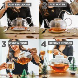 borosilicate glass teapot with infuser, infusion teapot with matching glass infuser, classy glass tea maker, infusion glass teapot for loose leaf tea, GROSCHE Cambridge Large Teapot