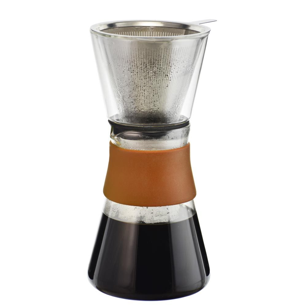 pour over coffee maker, pour over coffee with reusable filter, fine mesh stainless steel coffee filter, coffee carafe pour over set, pour over manual coffee brewer, double walled glass, GROSCHE Amsterdam