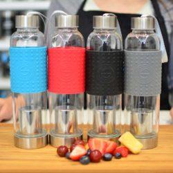 tea infuser bottle Grosche-Marino-travel-water-tea infuser bottle-4-colors-on-bamboo-counter-tea-infuser-travel