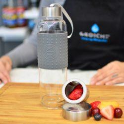 tea infuser bottle Grosche-Marino-travel-water tea infuser bottle-GREY-empty-on-bamboo-open-tea-infuser-travel-GR306-with-fruit--2