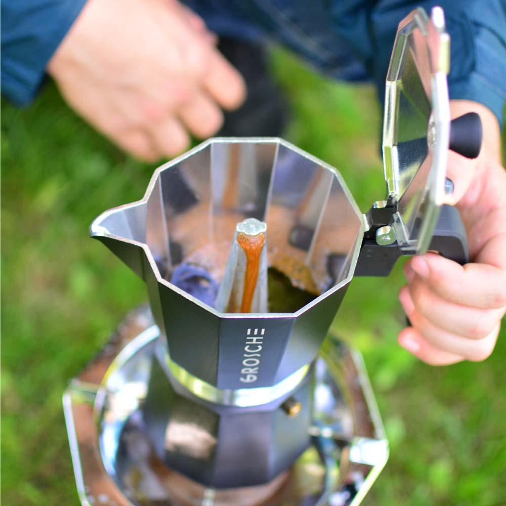 Grosche-Milano-italian moke pot coffee maker brewing-stovetop espresso-moka pot coffee-while-camping