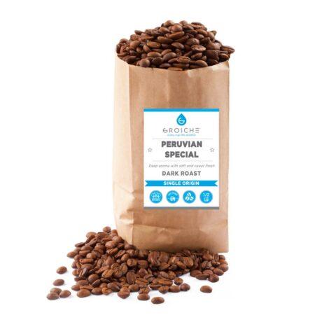 Peruvian dark roast coffee beans half pound