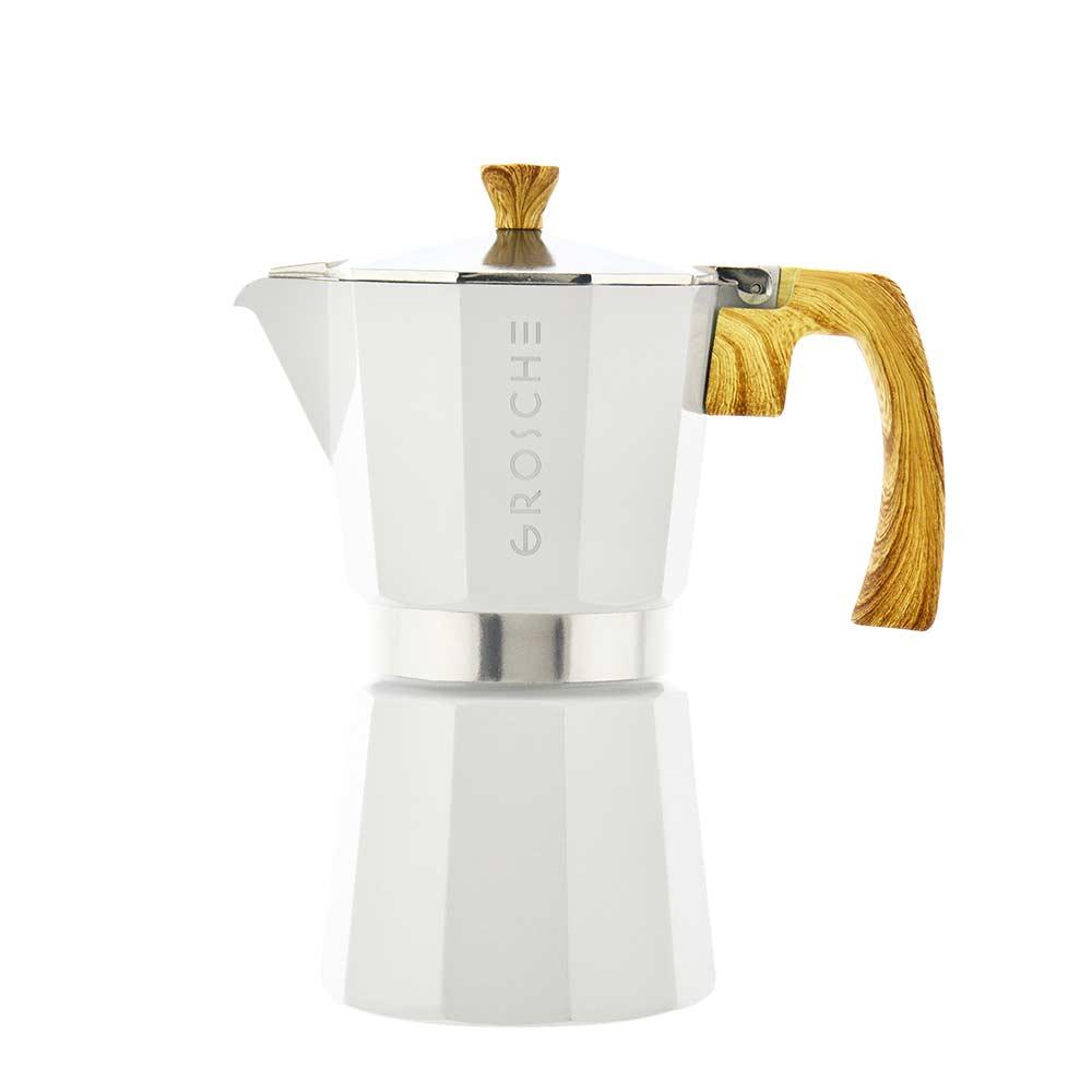 milano white stovetop espresso maker 6 cup
