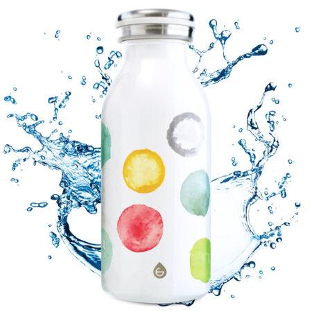 kids water bottle, stainless steel water bottle for kids, kids flask, kids insulated bottle, insulated canteen, 12 oz water bottle, GROSCHE BOp watercolours