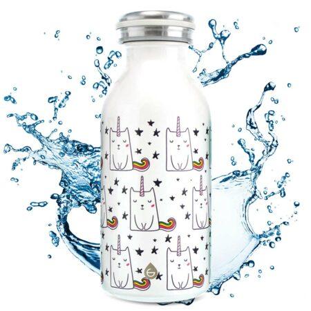 kids water bottle, stainless steel water bottle for kids, kids flask, kids insulated bottle, insulated canteen, 12 oz water bottle, GROSCHE BOp unicorn cats