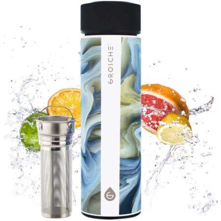 grosche tea infuser water bottle, infusion water bottle, tea infusion flask. yoga water bottle, tea bottle. outdoor travel bottle