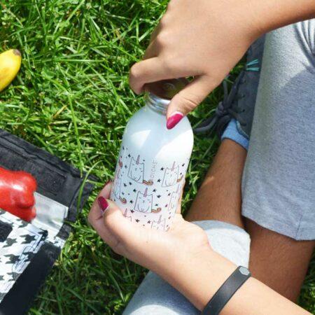 best water bottle for kids water bottle for school stainless-steel-kids-water-botle-GR-373-unicorn-cat-flask-kid-opening-in-grass-700x700-sq