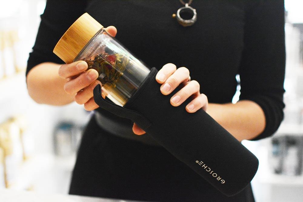 GROSCHE Copenhagen Double-Walled Glass Tea Infuser Bottle