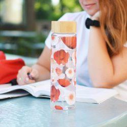 GROSCHE-GR-385-Venice-red poppy flower Glass-water-bottle-with-bamboo-lid-university