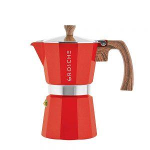 milano red stovetop espresso maker 6 cup