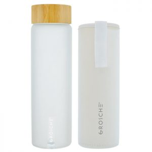 grosche venice frosted water bottle with bamboo lid