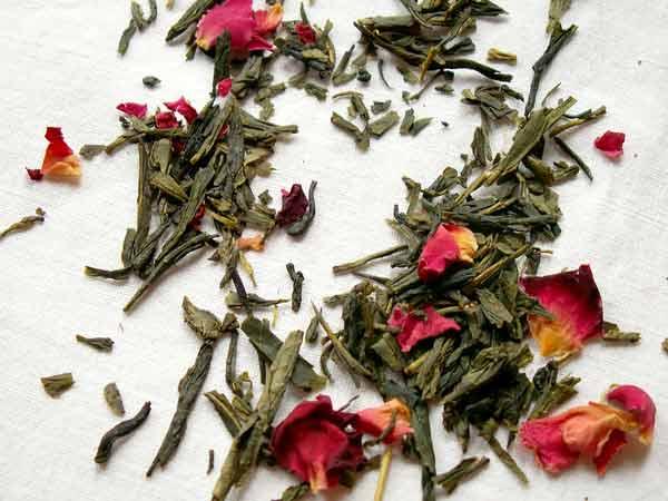 green tea leaves cherry rose sencha loose leaf tea