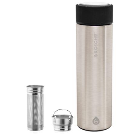 GROSCHE brushed steel chicago travel infuser tea bottle and travel mug with infuser