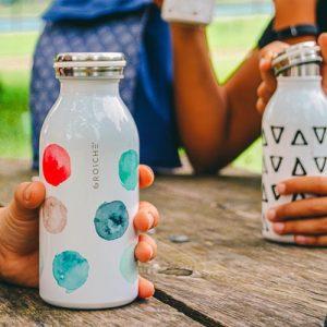 kids water bottle, stainless steel water bottle for kids, kids flask, kids insulated bottle, insulated canteen, 12 oz water bottle, GROSCHE BOp watercolour
