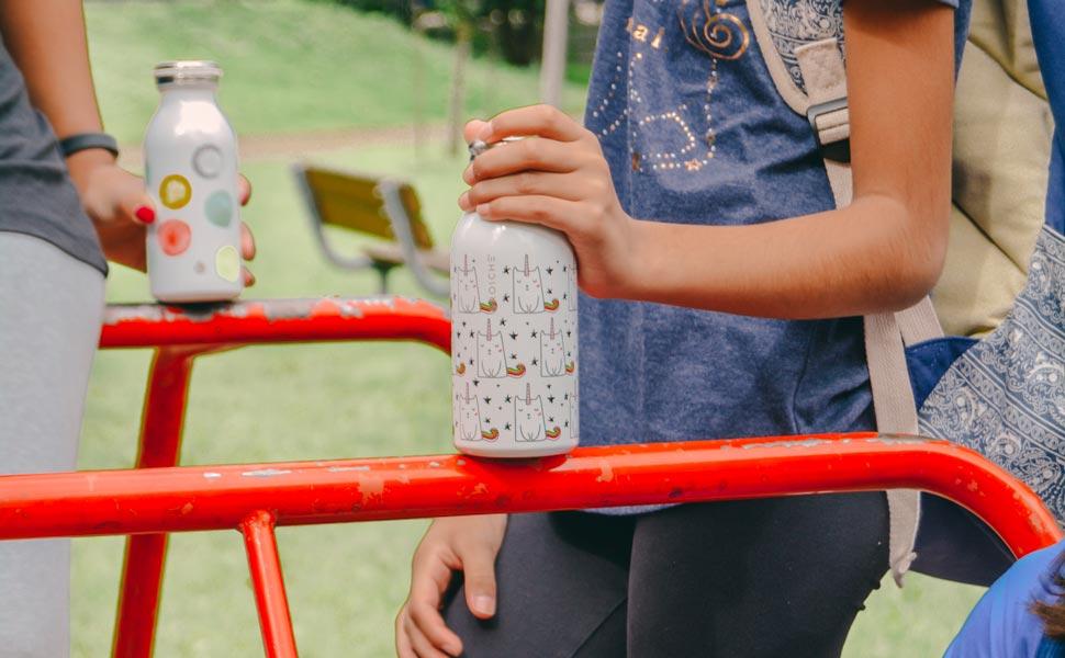 kids water bottle, stainless steel water bottle for kids, kids flask, kids insulated bottle, insulated canteen, 12 oz water bottle, GROSCHE BOp unicorn