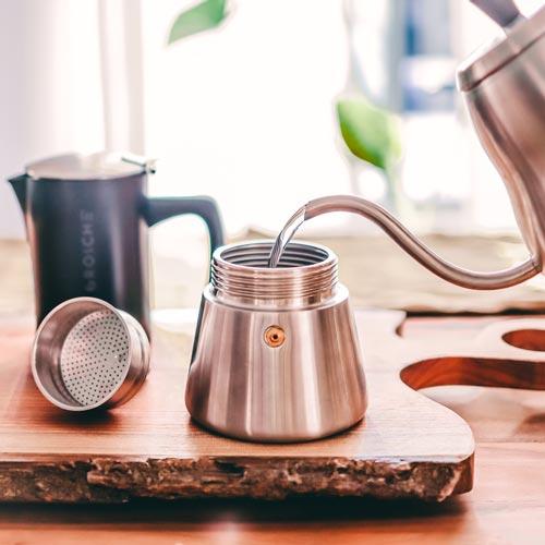 milano steel moka pot stovetop espresso maker