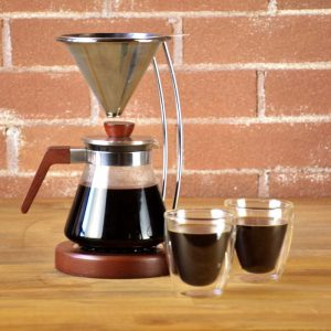 frankfurt pour over coffee maker manual coffee brewer with wooden detail stand and reusable filter