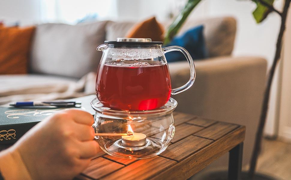 waterloo teapot personal small teapot with reusable infuser with sahara teapot warmer