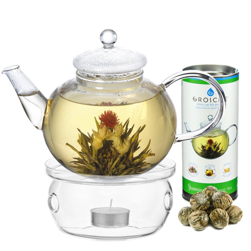 jasmine blooming tea set with monaco borosilicate glass teapot and glass teapot warmer
