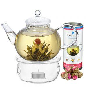 pomegranate blooming tea set with monaco borosilicate glass teapot and glass teapot warmer