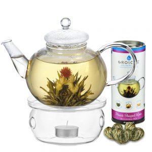rose heart shaped blooming tea set with monaco borosilicate glass teapot and glass teapot warmer