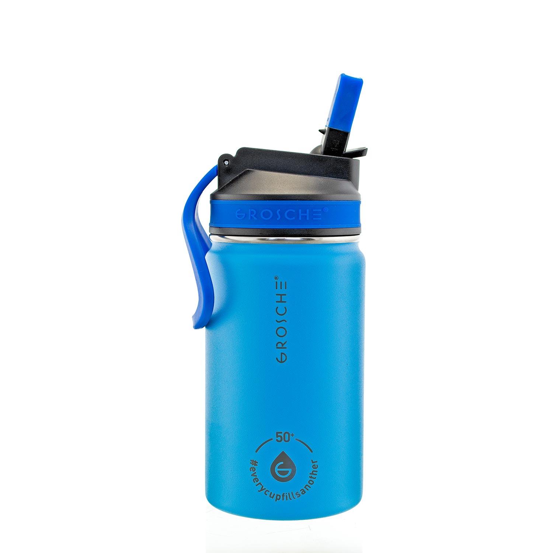 kids water bottle, kids water flask, water bottle for kids blue, sip lid water bottle, 12 oz flask