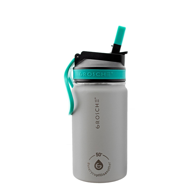 kids water bottle, kids water flask, water bottle for kids grey, sip lid water bottle, 12 oz flask