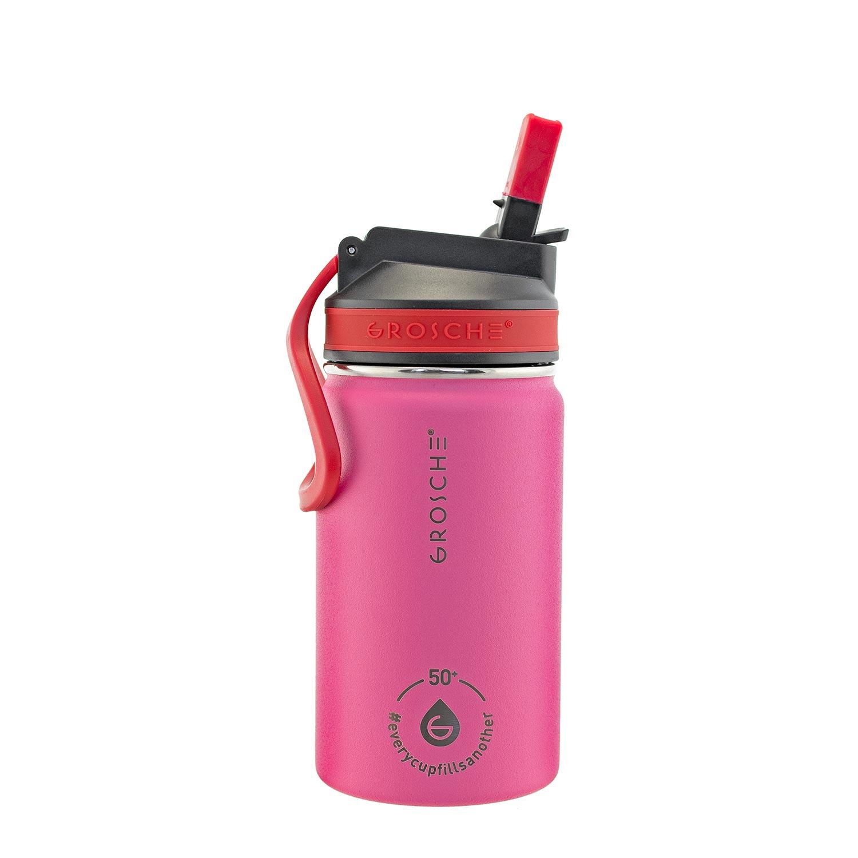 kids water bottle, kids water flask, water bottle for kids pink, sip lid water bottle, 12 oz flask