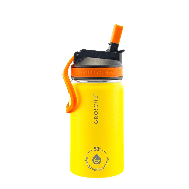 kids water bottle, kids water flask, water bottle for kids yellow, sip lid water bottle, 12 oz flask