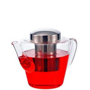 GROSCHE SICILY Loose-Leaf Teapot Side view with tea glass teapot with infuser Grosche Sicily